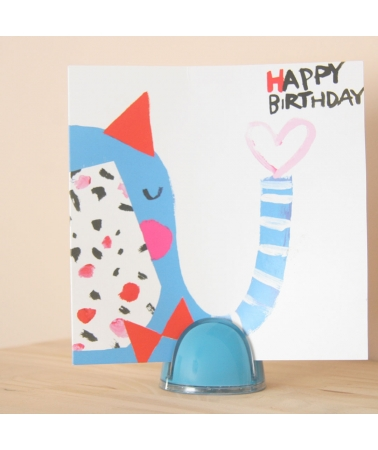 Page'up Pop Blue - Small design copy-holder that holds your sheets upright with a child Happy birthday postcard